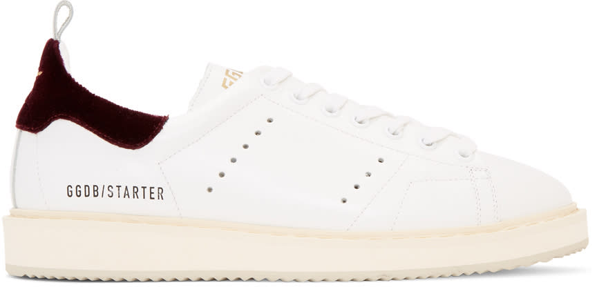 Golden Goose White and Burgundy Starter Sneakers