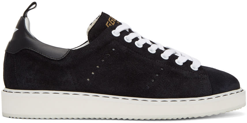 Golden Goose Black and White Suede Starter Sneakers