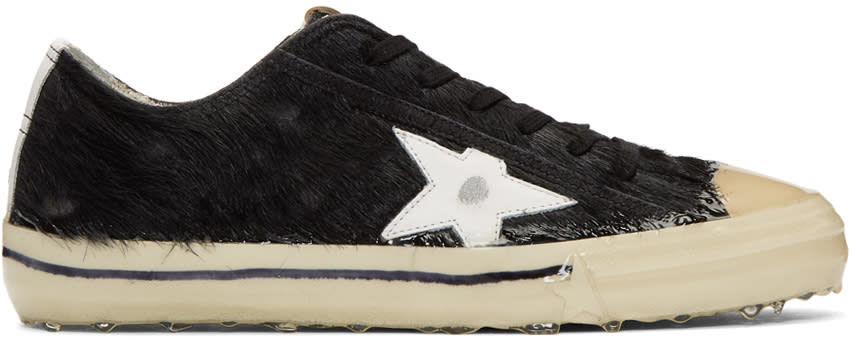 Golden Goose Black Pony V-star 2 Sneakers