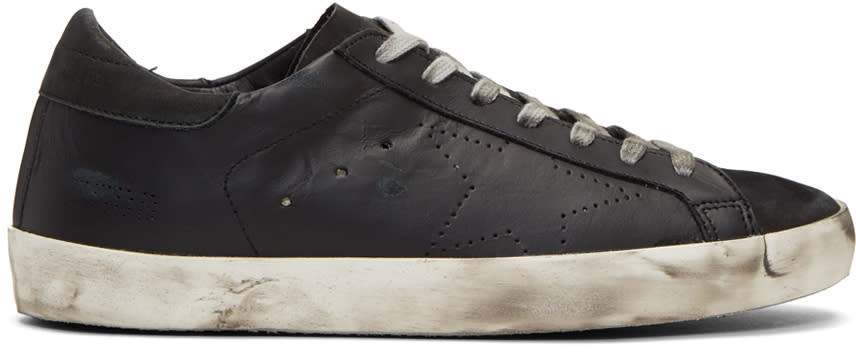 Image of Golden Goose Black Perforated Skate Superstar Sneakers