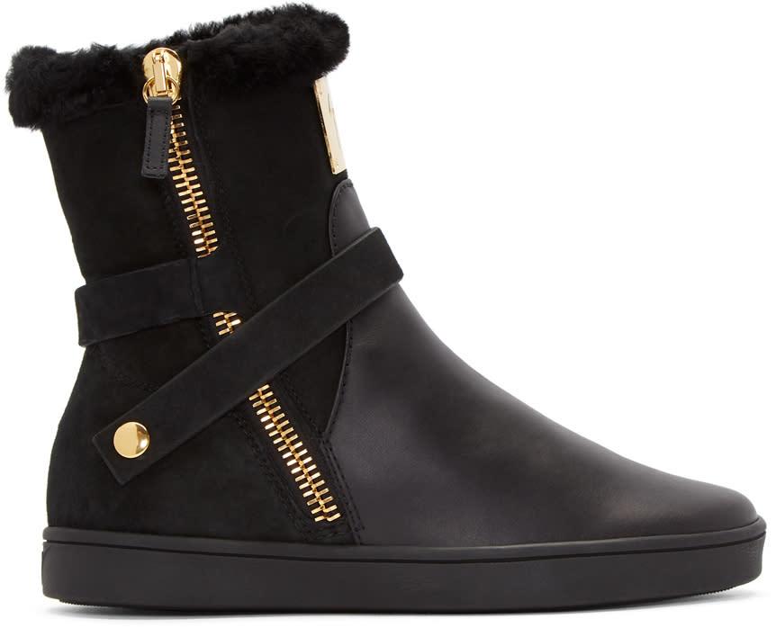 Giuseppe Zanotti Black Fur Brek Boots