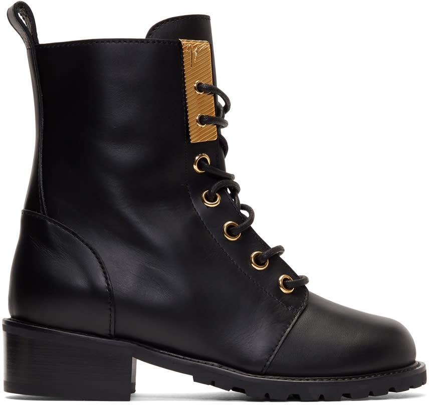 Giuseppe Zanotti Black Ecoblok Military Boots