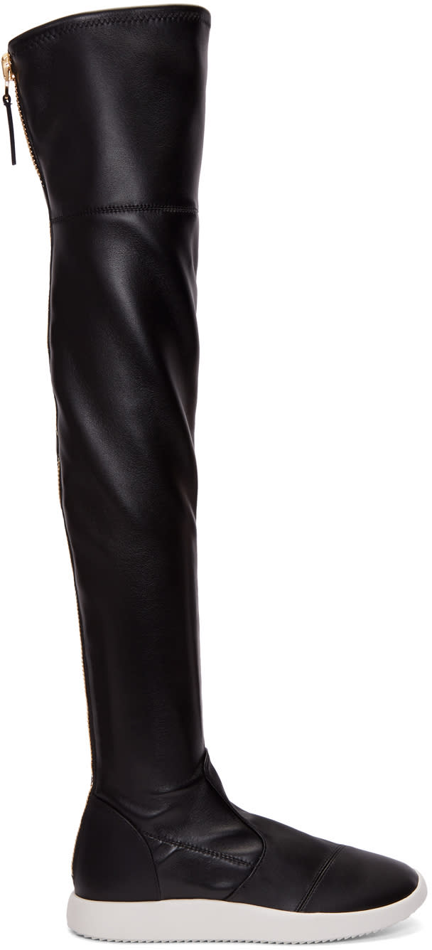 Giuseppe Zanotti Black Leather Singleg Over-the-knee Boots