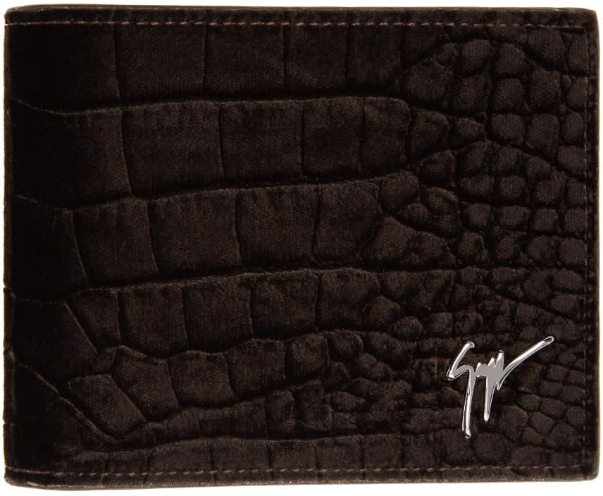 Giuseppe Zanotti Brown Velvet Croc-embossed Wallet