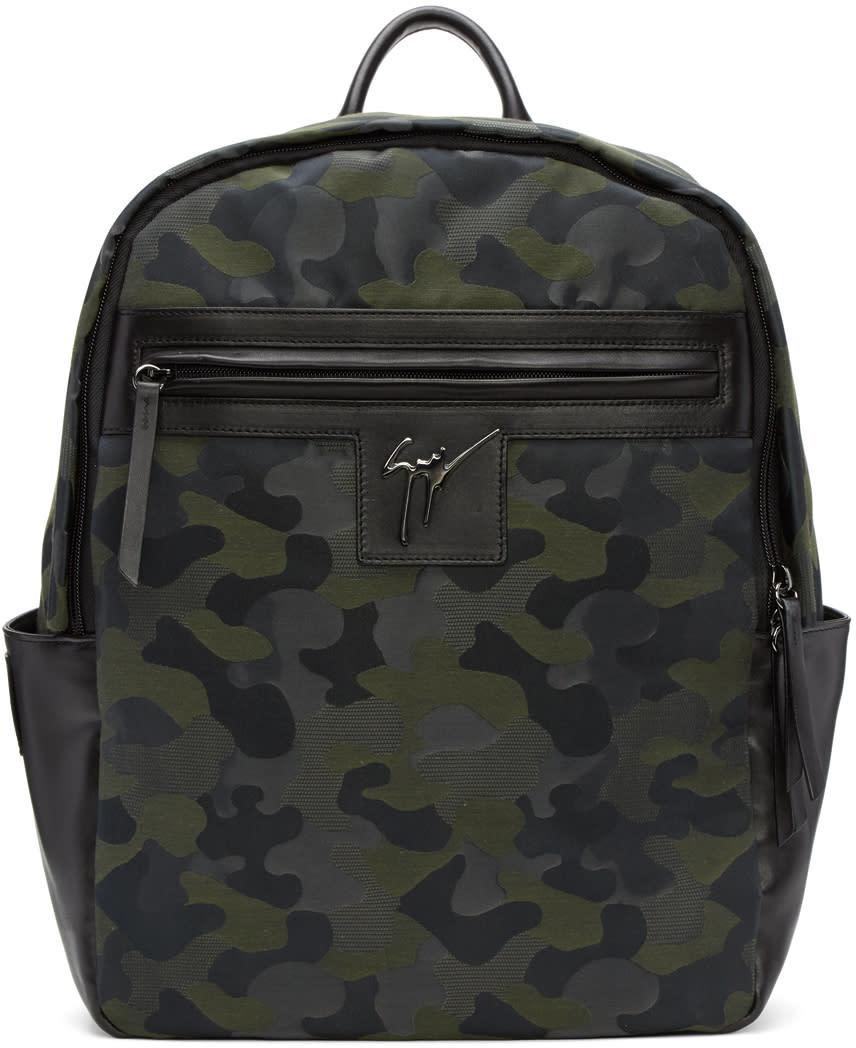 Giuseppe Zanotti Green Camo Jacquard Backpack