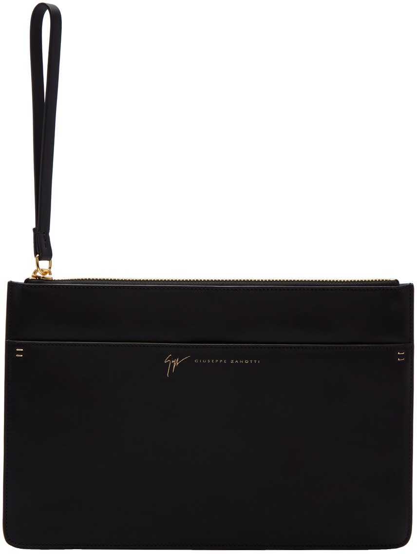 Image of Giuseppe Zanotti Black Borsa Leather Pouch