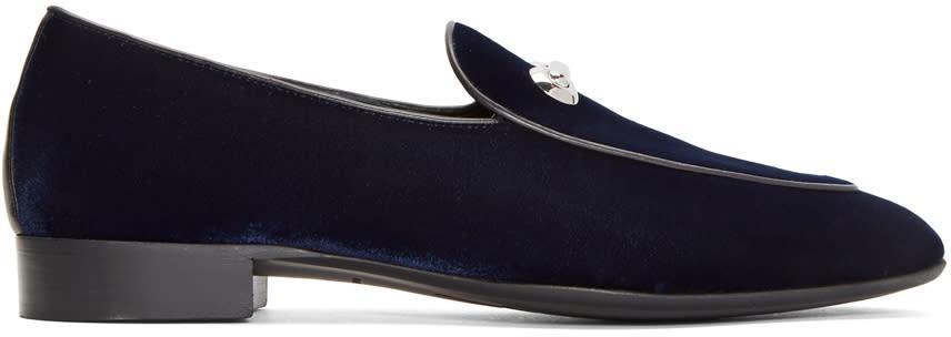 Giuseppe Zanotti Navy Velvet Archibald Loafers