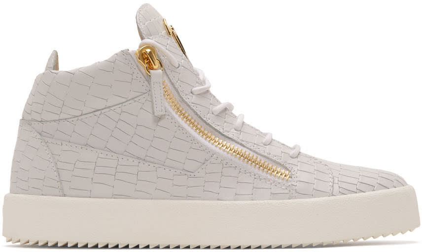 Giuseppe Zanotti Off-white Croc-embossed Zayn High-top Sneakers