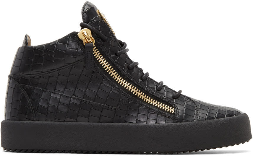 Giuseppe Zanotti Black Croc-embossed Zayn High-top Sneakers