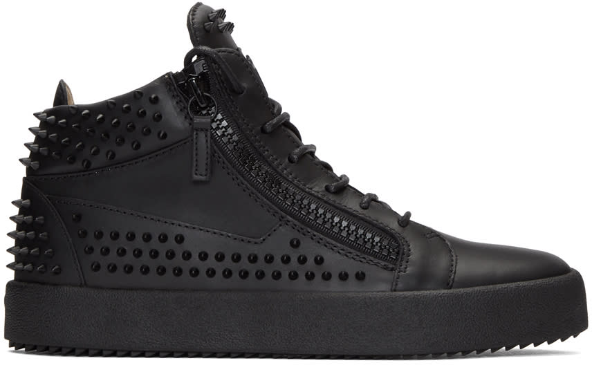Giuseppe Zanotti Black Studded May London High-top Sneakers