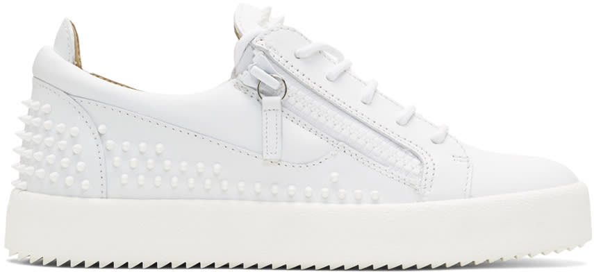 68627bb9e Giuseppe Zanotti White Studded May Sneakers