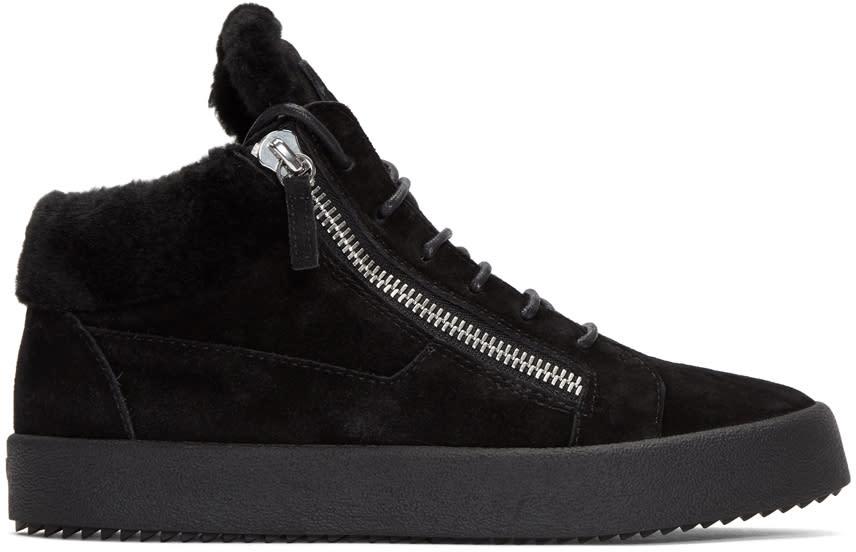 Giuseppe Zanotti Black Shearling May London High-top Sneakers