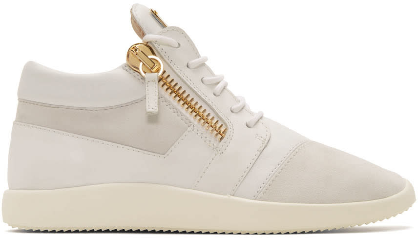 Giuseppe Zanotti White Leather Singles Sneakers