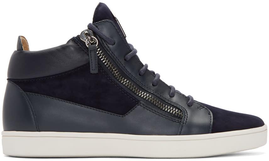 Giuseppe Zanotti Navy Suede Brek High-top Sneakers