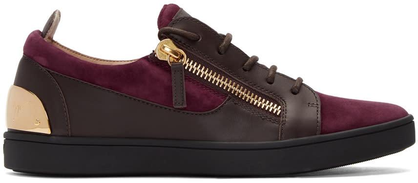 Giuseppe Zanotti Burgundy and Brown Suede Brek Sneakers