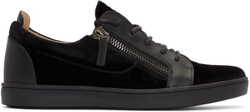 Giuseppe Zanotti Black Croc Velvet Brek Sneakers