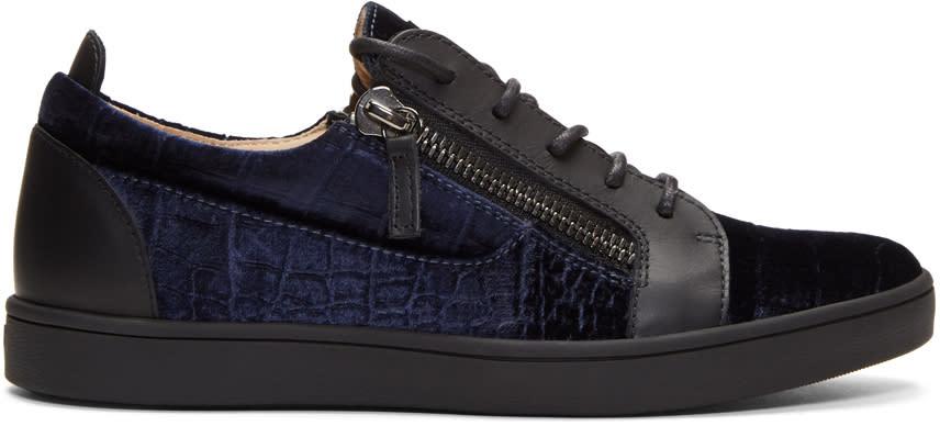 Giuseppe Zanotti Navy Croc Velvet Brek Sneakers
