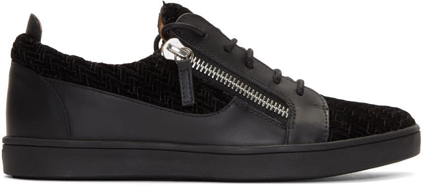 Giuseppe Zanotti Black Leather and Velvet Brek Sneakers