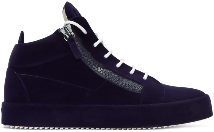 Giuseppe Zanotti Navy Flocked May London High-top Sneakers