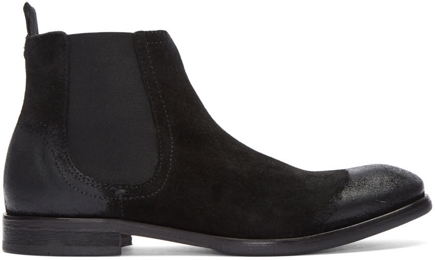 Image of H By Hudson Black Suede Entwhistle Chelsea Boots