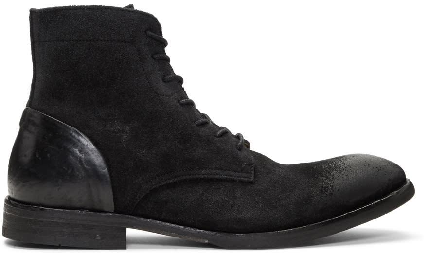 Image of H By Hudson Black Suede Yoakley Boots