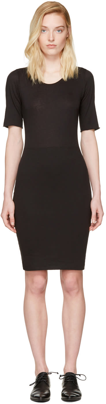 Image of Raquel Allegra Black Jersey Fitted Dress