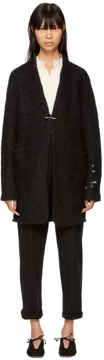 Image of Raquel Allegra Black Mohair Safety Pin Cardigan