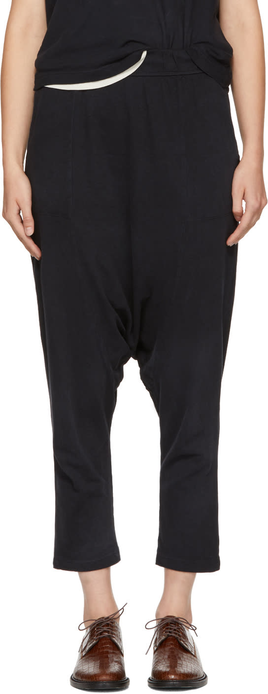 Image of Raquel Allegra Black Cropped Slouchy Lounge Pants