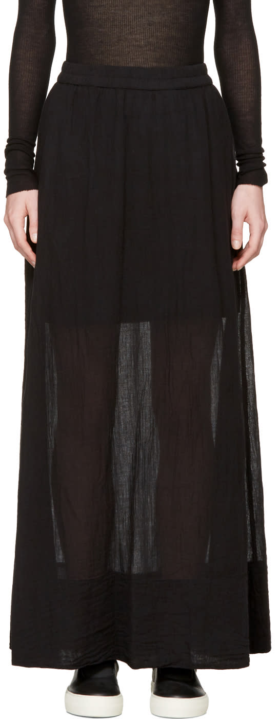 Image of Raquel Allegra Black Gauze Maxi Skirt