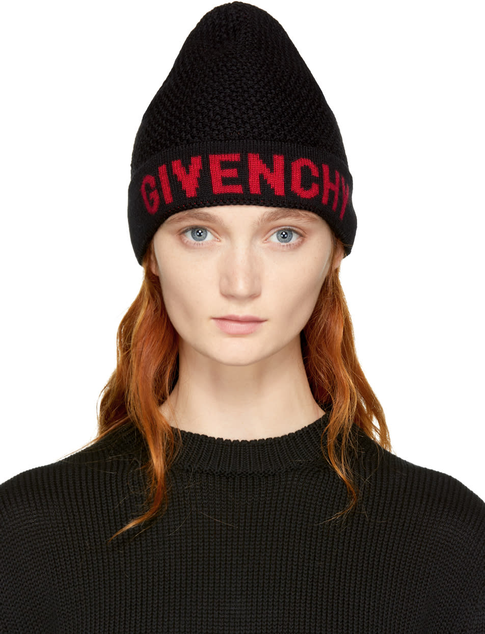 Image of Givenchy Black and Red Logo Beanie
