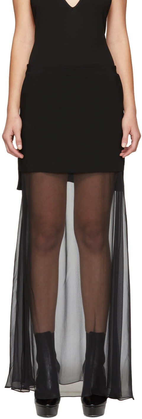 Givenchy Black Layered Chiffon Skirt