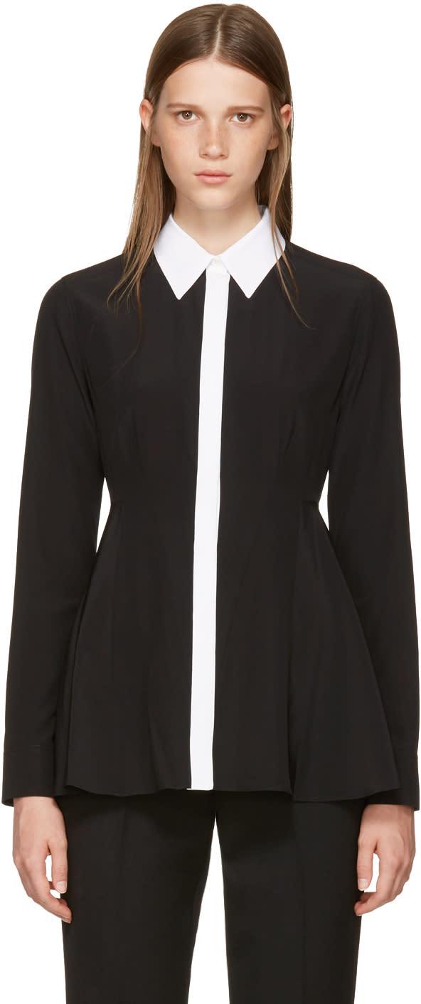 Givenchy Black Silk Contrast Collar Blouse