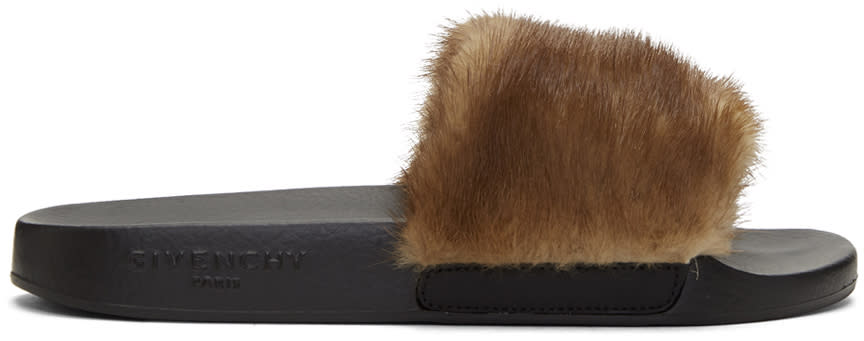 Givenchy Brown Mink Fur Slides