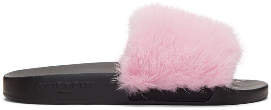 Givenchy Pink Mink Fur Slides