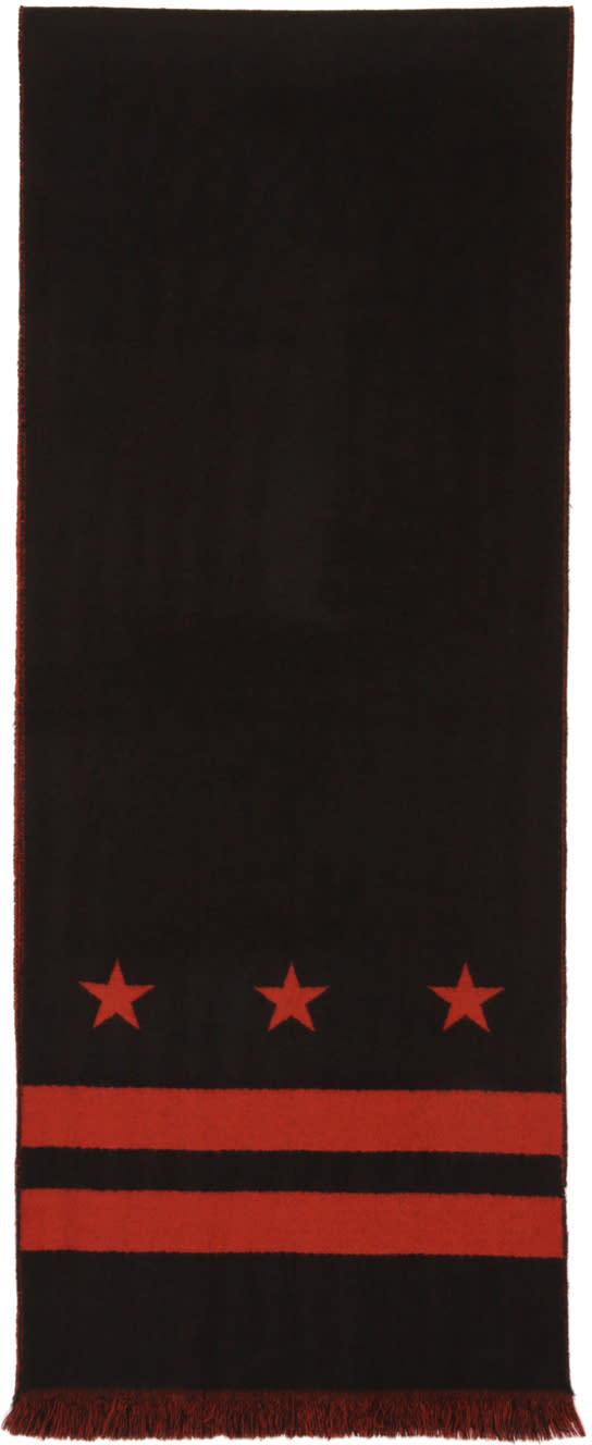 Givenchy Black and Red Stars and Double Stripes Scarf