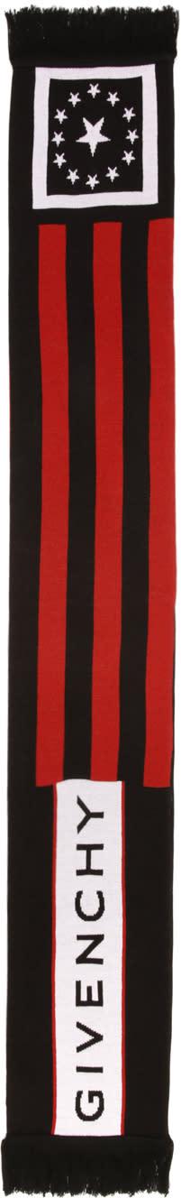 Givenchy Black Stars and Stripes Logo Scarf