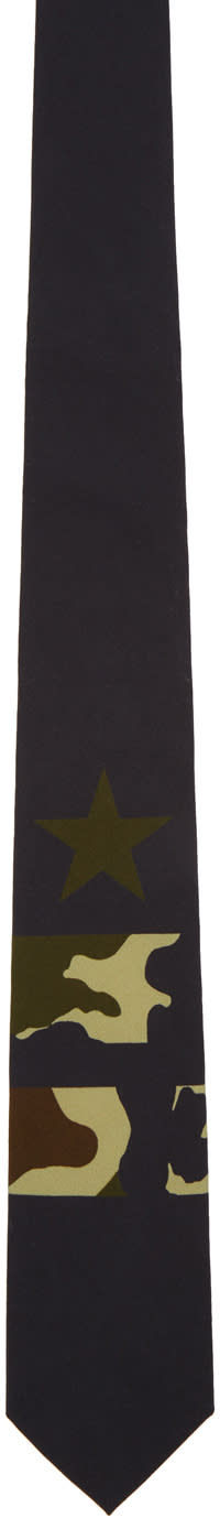 Givenchy Black Camo Star and Double Stripes Tie