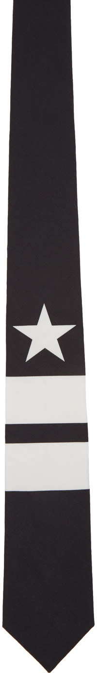 Givenchy Black and White Star and Double Stripes Tie