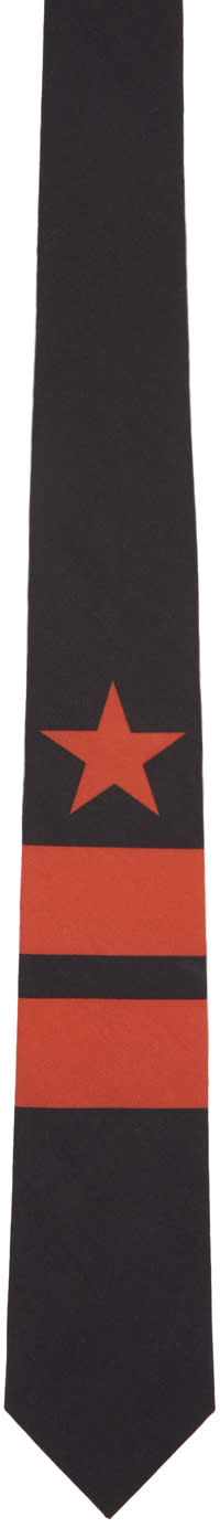 Givenchy Black and Red Star and Double Stripes Tie