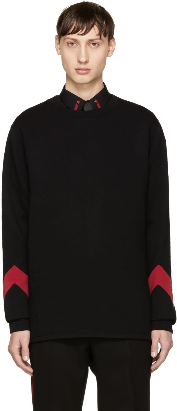 Image of Givenchy Black and Red Cuff Sweatshirt