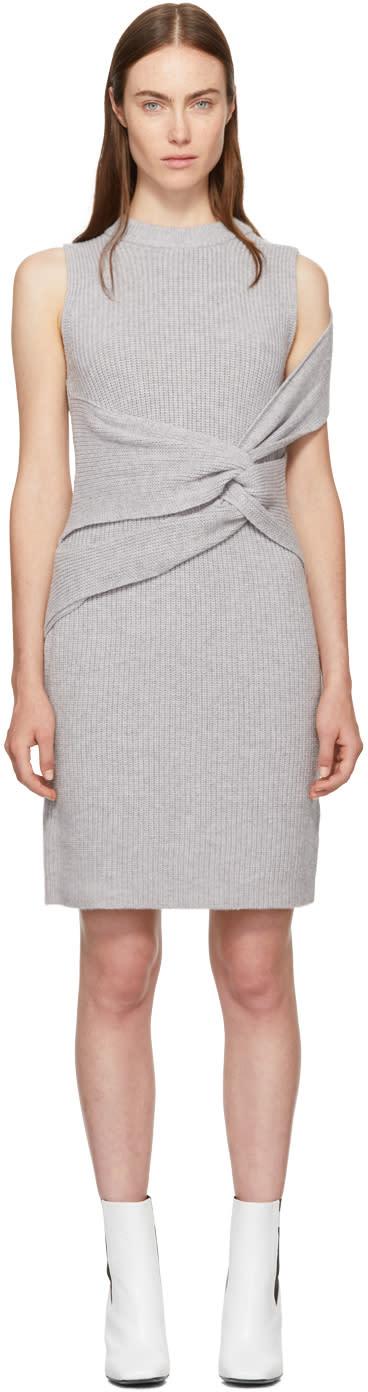 31 phillip lim female 31 phillip lim grey draped ribbed twist dress