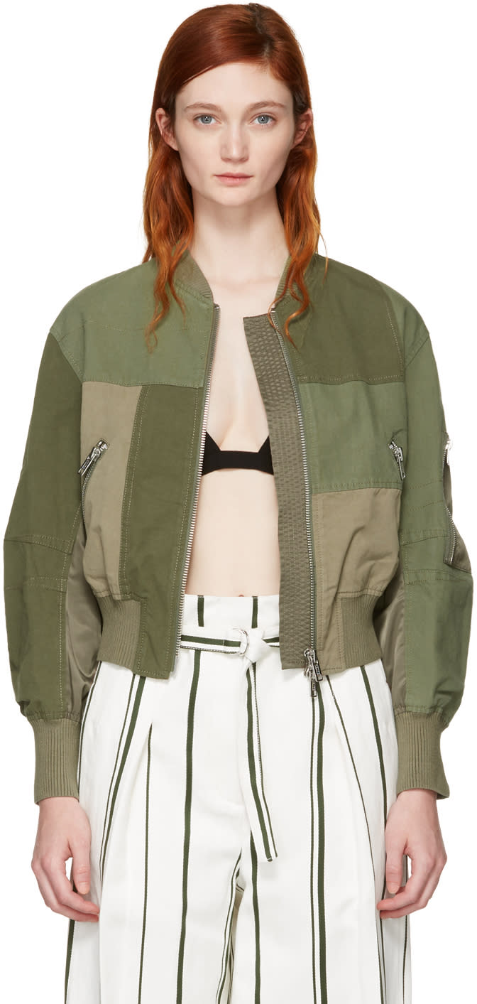 3.1 Phillip Lim Green Patchwork Bomber Jacket