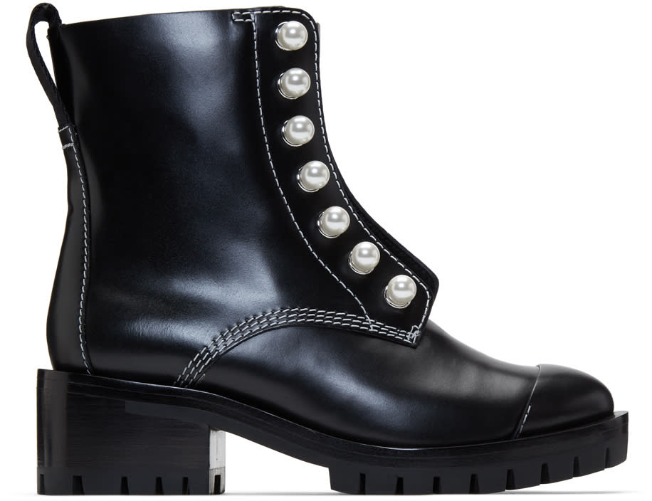3.1 Phillip Lim Black Lug Pearl Zipper Boots