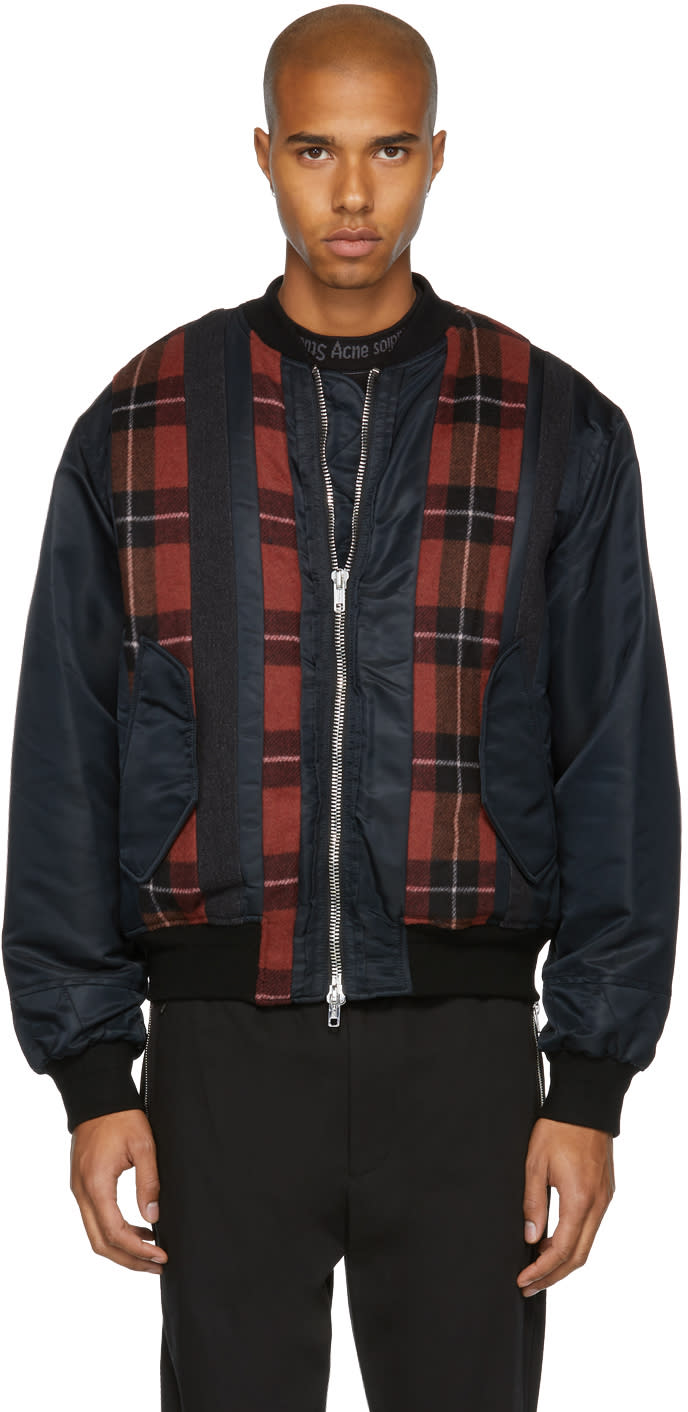 Image of 3.1 Phillip Lim Black and Red Panelled Ma-1 Bomber Jacket
