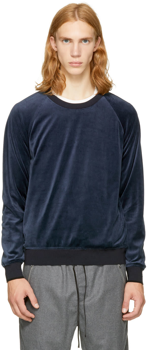 31 phillip lim male 31 phillip lim navy velour sweatshirt