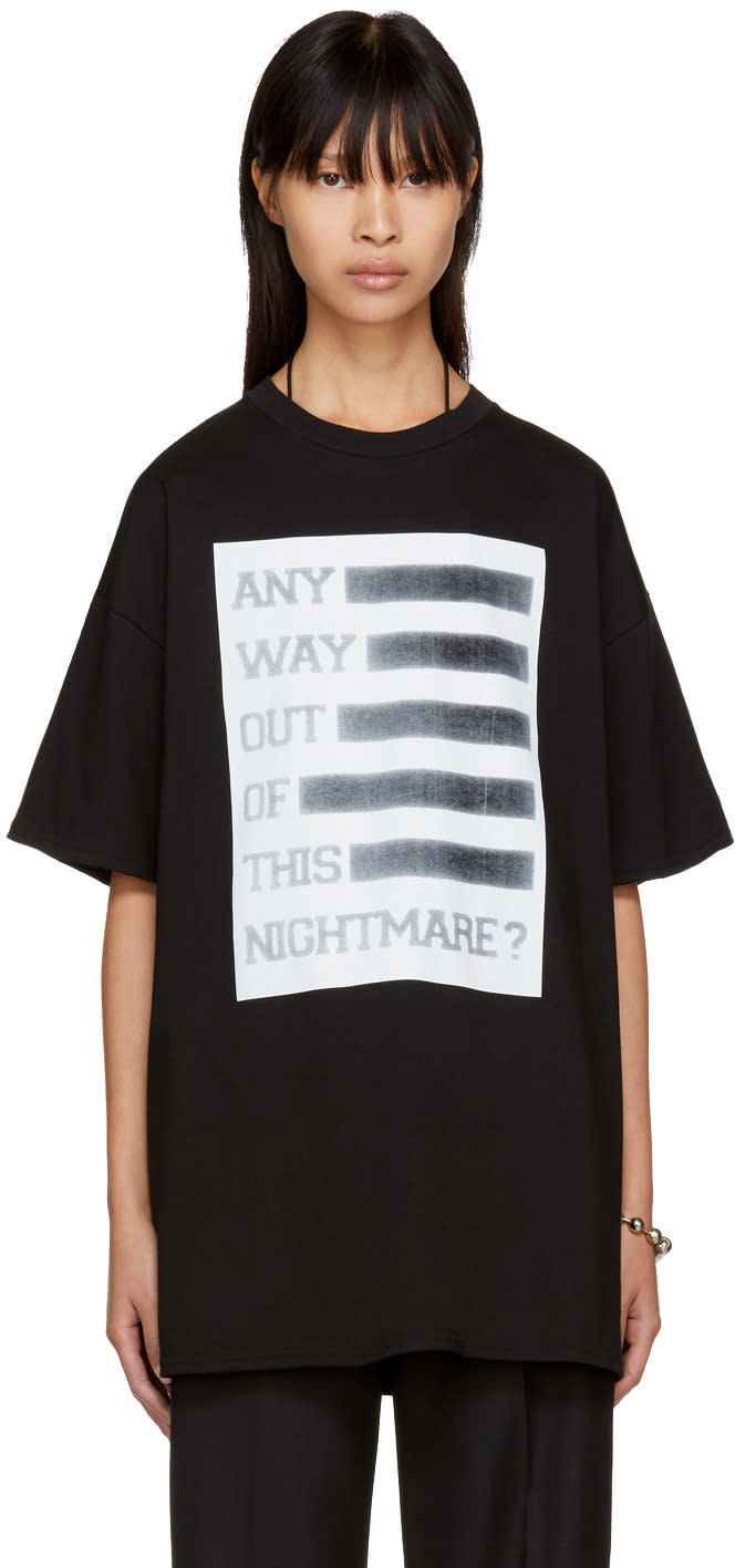 Image of Raf Simons Black any Way Out Of This Nightmare Easy Fit T-shirt