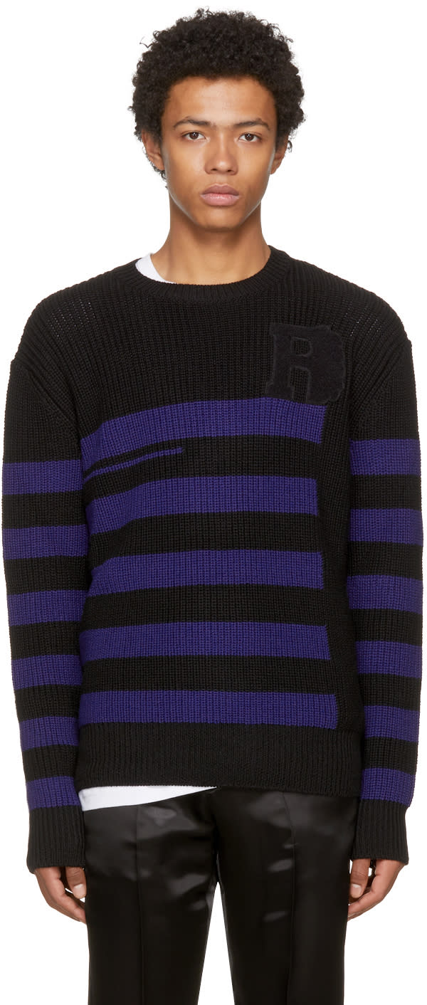Image of Raf Simons Black and Blue Striped Roundneck Sweater