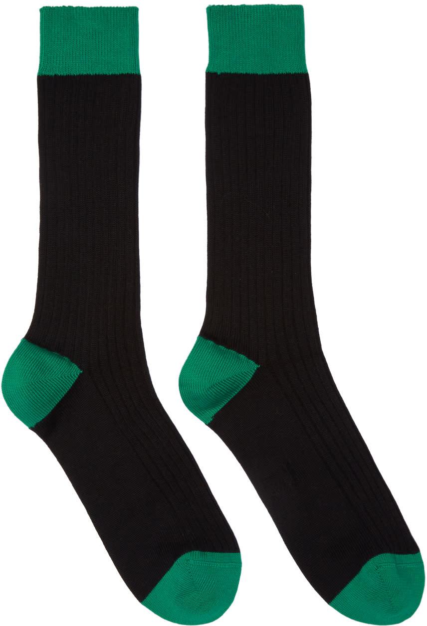 Image of Raf Simons Black and Green Bicolor Socks