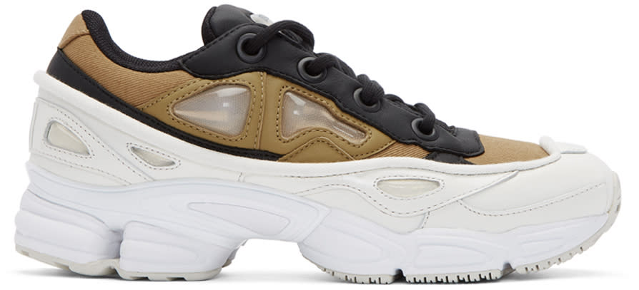 Raf Simons Khaki and White Adidas Originals Edition Ozweego Iii Sneakers
