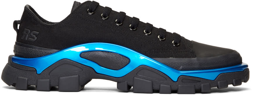 Raf Simons Black and Blue Adidas Originals Edition New Runner Sneakers